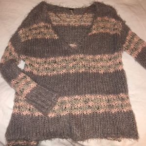 Free People pink and grey sweater